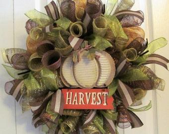 """Harvest Deco Mesh Metallic Wreath  - """"Harvest Pumpkin"""" Door Wreath - Warm Fall Colors - Wooden Sign - Entryway Decor - 20"""" Size"""