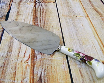 English Cake Knife  Pie Server / Queens Garden Burgundy Rose / Stainless Steel Blade with Porcelain Handle / Afternoon Tea / Sheffield