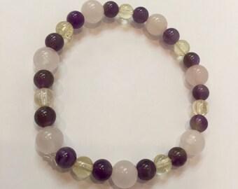 Amethyst, Citrine & Rose Quartz Bracelet