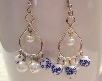 Pottery blue and white ceramic flower chandelier earrings Pottery blue and white bead earrings Chandelier earrings Blue and white earrings