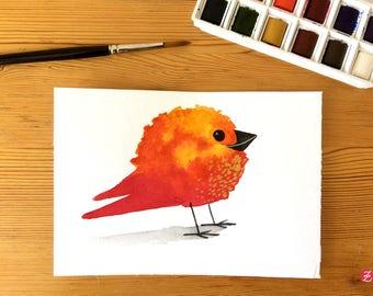 Element - fire - bird original illustration