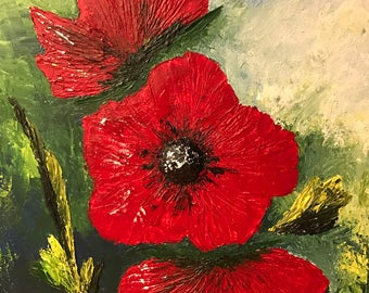 Print from Original acrylic painting  - modern and contemporary art 18 in x 24 in. Title: Poppy In Bloom