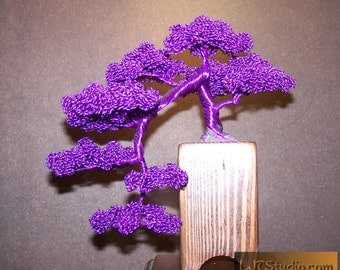 Kengai Style Bonsai Tree Wire Sculpture (purple)
