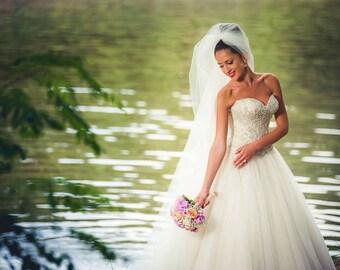 Wedding Dress/A-Line Pearl Corset Wedding Dress/Princess Bridal Dress