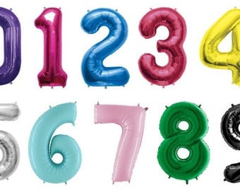 Giant Number Balloons   Choose Your Color - Choose Your Number   Birthday Decorations