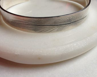 Sterling Silver Feather Cuff Bangle