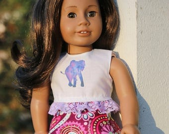 Elephant lace top for 18 inch dolls
