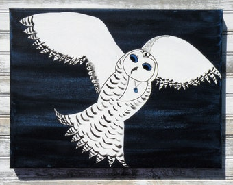 Snowy Owl in Flight Original Acrylic Painting on Canvas 12x16, Snowy Owl Flying In Night Sky, White Owl with Sapphire Jewel Eyes and Pendant