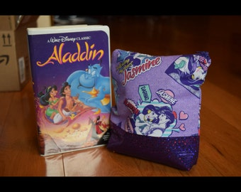Aladdin and Jasmine purple pop art cosmetic bag