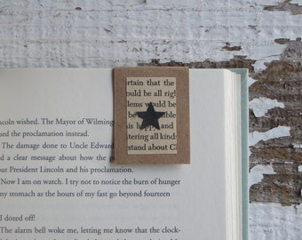 Brown Bookmark, Black Star cutout | Book Accessory