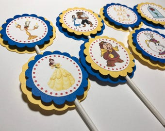 Beauty and the Beast Cupcake Toppers / Beauty and the Beast Cand Toppers / Beauty and the Beast Birthday Decor / Beauty and the Beast Banner