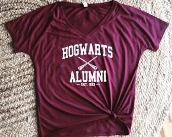 Harry Potter Hogwarts Alumni Drapey Off the Shoulder V-Neck Shirt