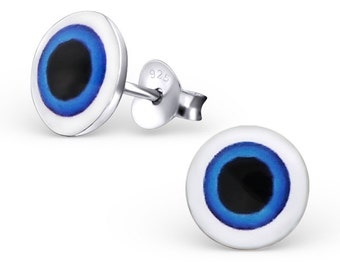 Solid 925 Sterling Silver Evil Eye Earrings