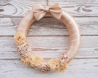"""Wedding decor, Satin Wreath, Wedding Wreath, Engagement Wreath, Flower Wreath, Bridal Shower, Spring Summer Wreath, Front Door Wreath, 12"""""""