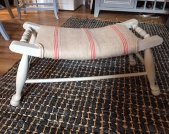 Attractive footstool upholstered in Vintage French Linen