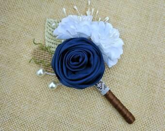 Rustic Wedding Boutonniere,Navy Blue Satin Rose Boutonniere, Rose Boutonniere,Navy Blue Wedding Corsage,Rustic Navy Blue Lapel Pin.