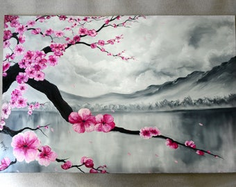 ORIGINAL Oil LARGE, Abstract Silver Landscape painting, Modern Art, Pink Cherry blossom, Wall, Office decor *Japanese Sakura Blossom*