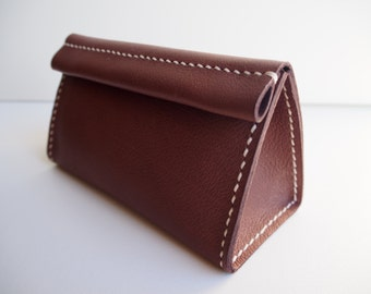 Leather Cosmetic Bag, Leather Make Up Bag, Leather Pouch - Brown