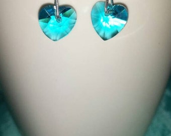 Crystal earrings watery Blues hearts