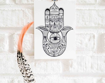 Hamsa Illustration Postcard