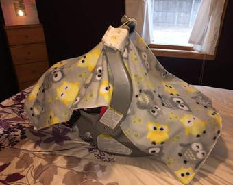 PRICE REDUCED! Ready to Ship! Car Seat Cover for a baby Owls, Yellow and Gray, Elephants, Monkey
