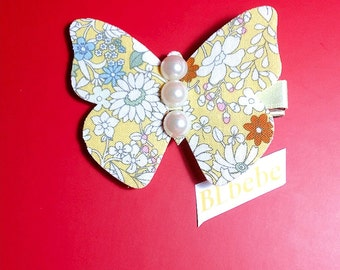 Baby Girl Liberty  Yellow Butterfly pearl Hair Clip