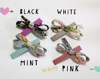 Baby Girl Spring  Leather Flower Print Ribbon Hair clip,Hair bow