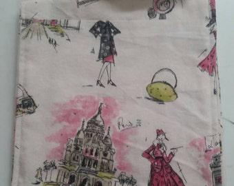 Canvas Haversack Cross body messenger bag Paris theme