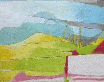 Original art, small art, mixed media, painting, collage, landscape, Kim Mullay, studiogreenwood