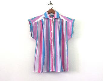 1980s Rainbow Pastel Striped Shirt