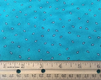 Aqua fabric with light blue raindrops by Becky Christian for Robert Kaufman Co Inc #IC.1585. Free shipping!
