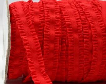 Red Ruffle Frilly FOE Fold Over Elastic 16mm per Yard