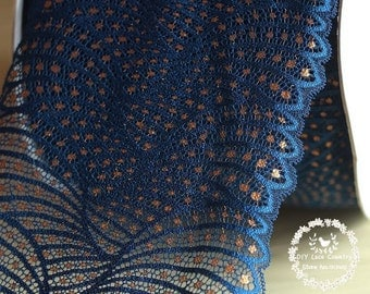 17cm Dark Blue with Gold Detail Leaf Vein Look Stretch Lace - per Yard