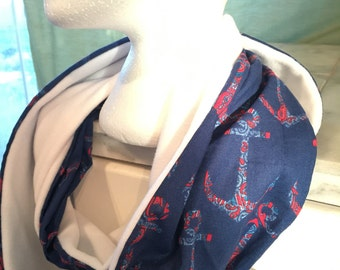 Navy Blue Anchor Infinity Scarf // Anchor Scarf // Navy // Homemade // Nautical //
