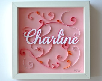 Table theme arabesques birth or personalized baptism gift. arabesques, pink, first name embossed. Deco children's room. paper cut