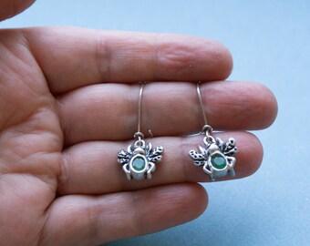 """earrings """"Beetles"""",sterling silver,emerald,handmade,Fine Jewelry,single copy,nature styl,earrings silver"""
