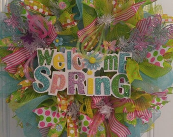 Spring Wreath, Seasonal Wreath, Mesh Wreath