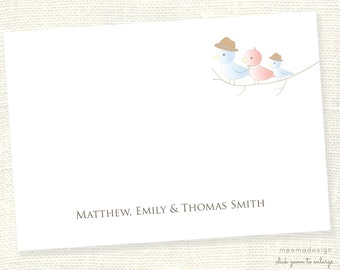 Personalized Notecard Set / Set of Flat Personalized Stationery / Stationary Cards/ Personalized Namecards/Birdies/Bird