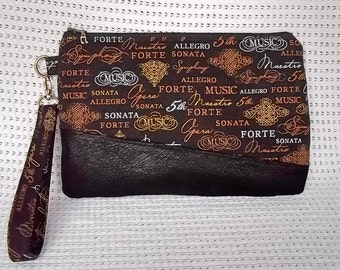 Free Shipping! Black and Tan Wristlet, Clutch, Carissa,  Faux Leather, Music, Notes