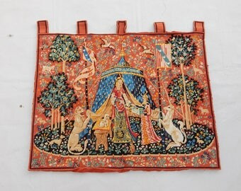 Vintag French Lady With Unicor Tapestry (258)