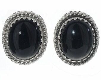 Black Onyx Silver Stud Earrings Navajo Twist Wire Design