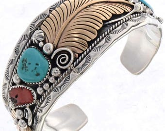 Navajo Silver Gold Cuff Bracelet With Sleeping Beauty Turquoise