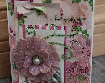Hand Made, Card, Flower, Thinking of You, Greeting, Layers