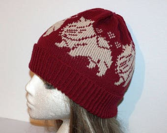 Burgundy with beige Chow Chow dogs Beanie Hat  - with or without Pompom option