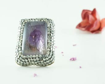 Fluorite Stone Gold Ring / Adjustable Size / Swaroski Adorned / Handmade Unique