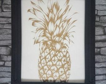 Pineapple print, pineapple print frame, vintage style frame, gold pineapple, black and gold frame