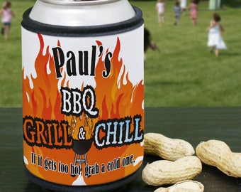 Personalized BBQ Grill & Chill Personalized Can and Bottle Wrap Custom Name Gift