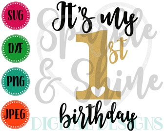 1st Birthday SVG, DXF, JPEG, Birthday Girl Cut File, Girl Svg file, 1st Birthday svg, Silhouette svg, cricut svg, It's my 1st Birthday svg