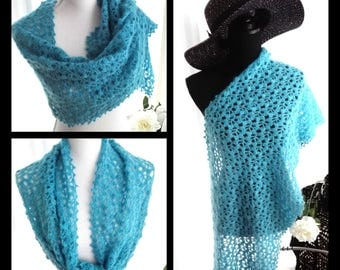 Turquoise crochet scarf, shawl, stole, rectangle