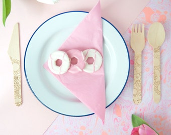 Floral Disposable Wooden Cutlery